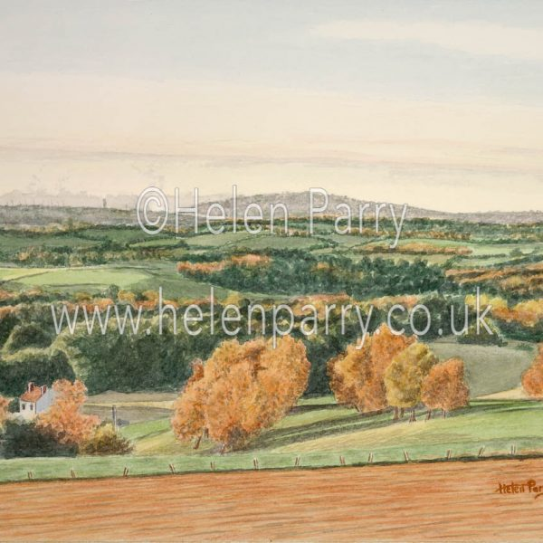 watercolour painting of wrekin hill in autumn evening sunlight