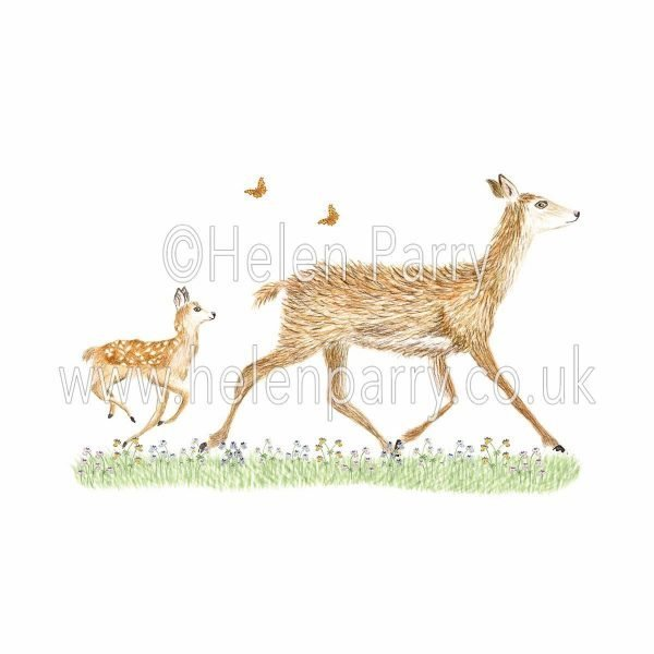 watercolour painting of doe deer and fawn trotting behind