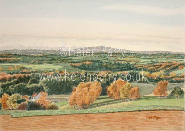 watercolour landscape of wrekin hill in autumn scene