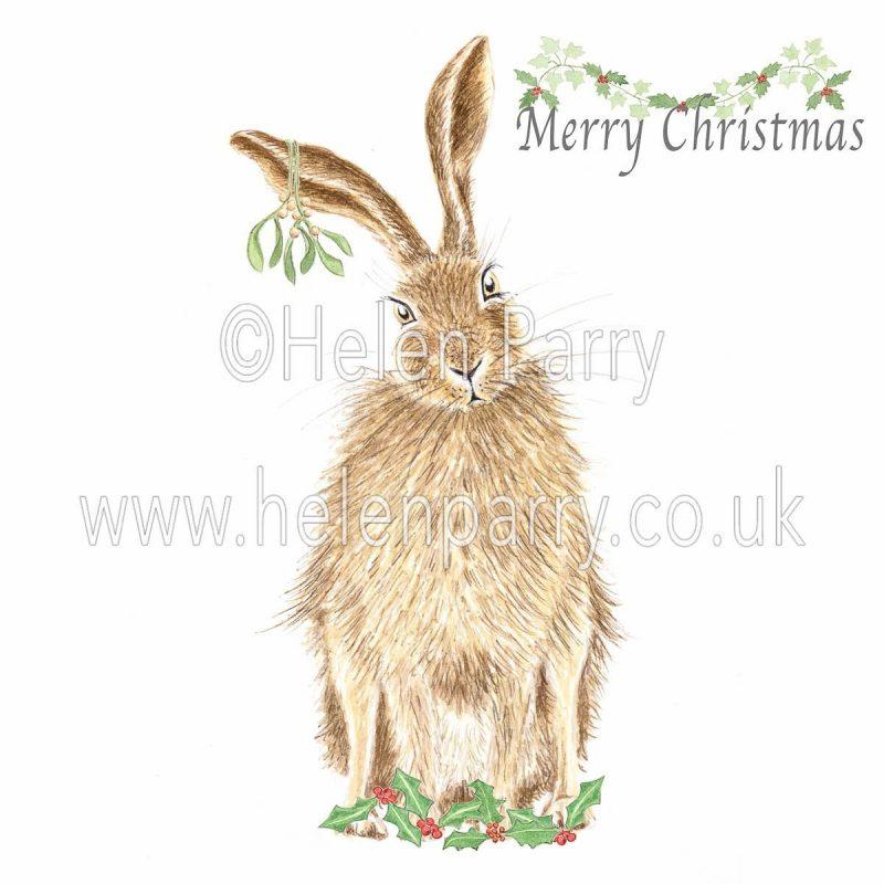 christmas card of hare with mistletoe on ear