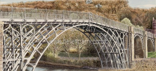 painting of Iron Bridge the white is the paper not paint