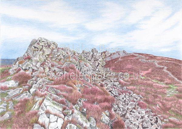 watercolour of stiperstones landscape