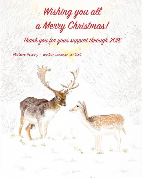 Fallow Deer Christmas watercolour message