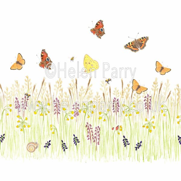 greeting card cowslip meadow orchids with snail, butterflies, bees and ladybirds