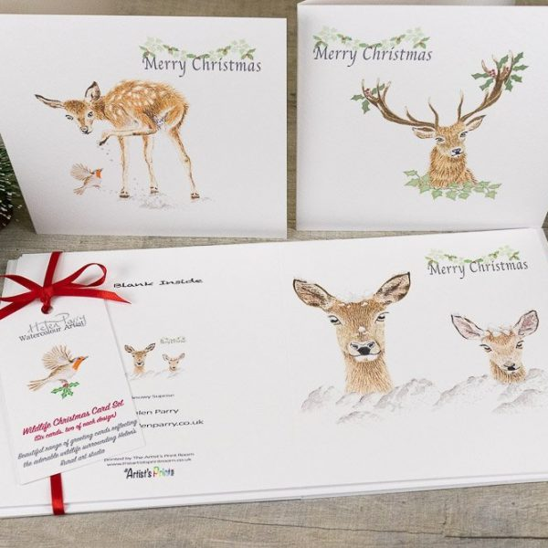 set of six deer christmas card pack