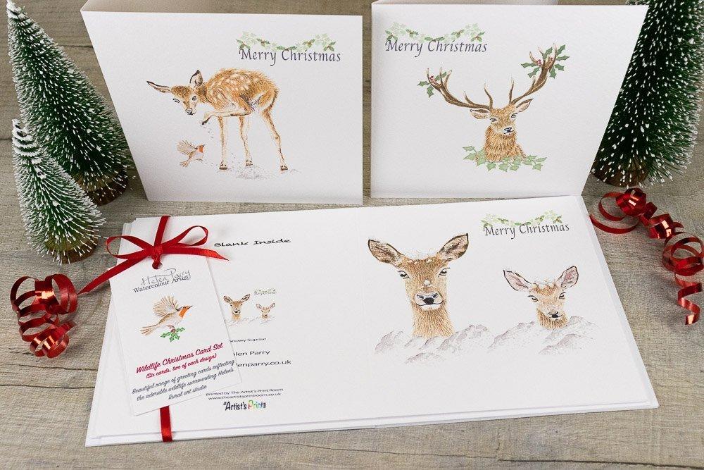 set of six deer christmas card pack