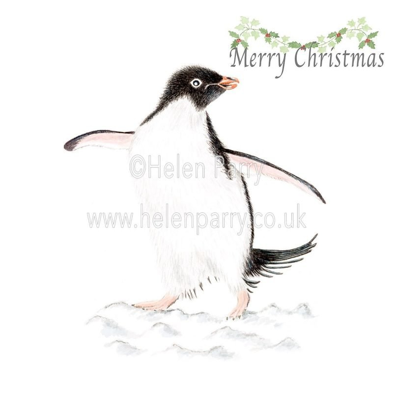 penguin dancing on the snow