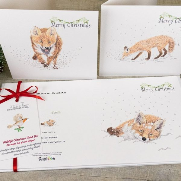 fox christmas card set