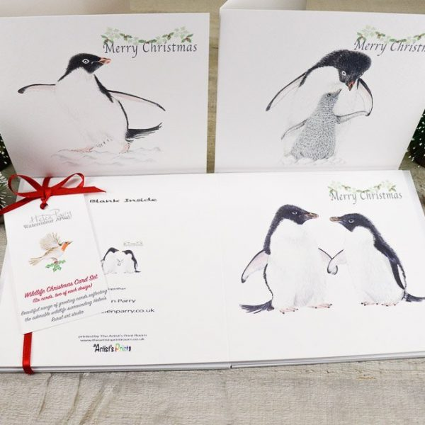 christmas card set of penguins