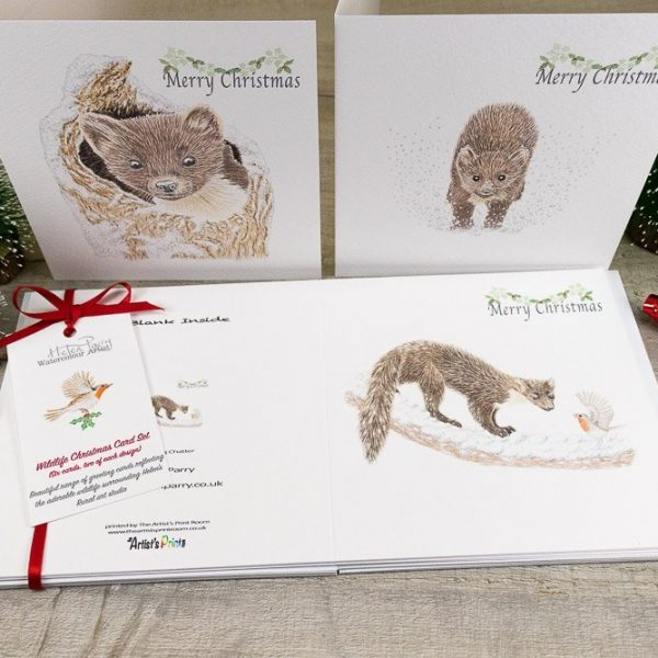 christmas card set of pine martens