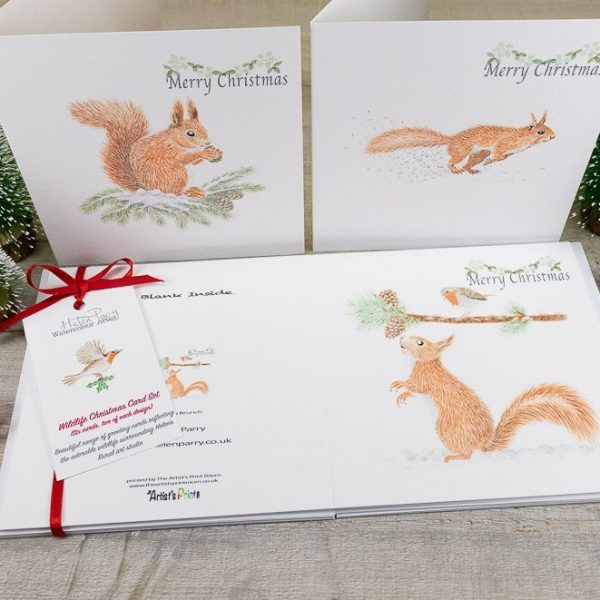 Christmas card set of squirrels