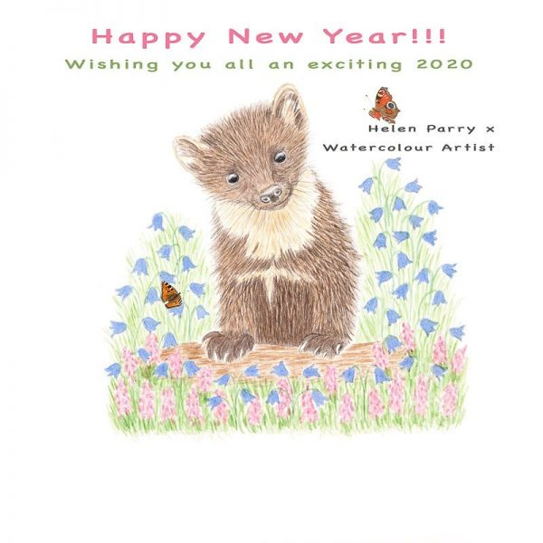 Happy New Year message with a pine marten - Helen Parry Art