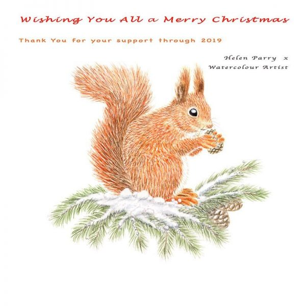 Merry Christmas greeting with squirrel - Helen Parry Art