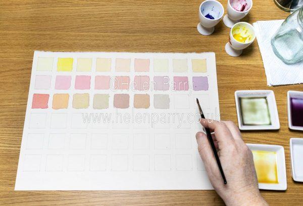 Watercolour Mixes as swatches- Helen Parry Watercolour Artist