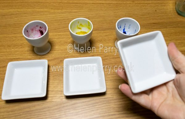 Watercolours being mixed in egg cups - Helen Parry Watercolour Artist
